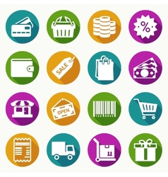 set shopping icons in flat style vector image