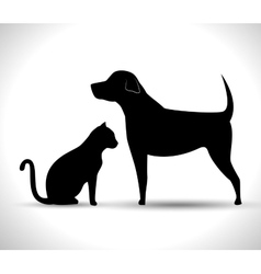 Silhouette dog and cat pet icon vector