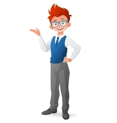 Smart little boy with glasses and finger point up vector image