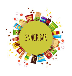 snack product with circle fast food snacks vector image