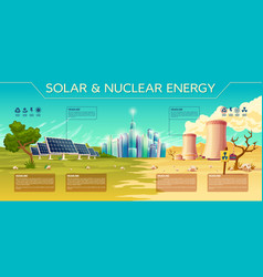 Solar nuclear energy industry infographics vector