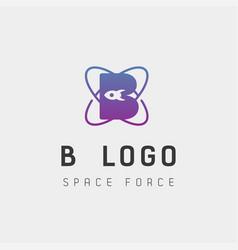 Space force logo design b initial galaxy rocket vector