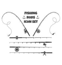 Spinning fishing rod vector