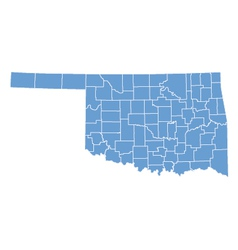 State map of Oklahoma by counties vector