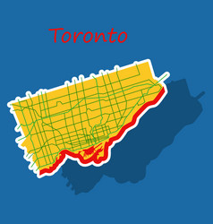 Sticker color map of toronto canada city plan of vector