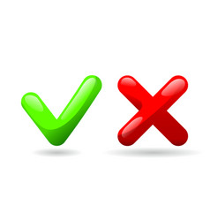 test check mark buttons icon tick and cross vote vector image