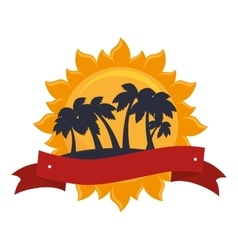trees palms emblem icon vector image