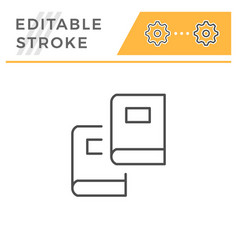 two books editable stroke line icon vector image