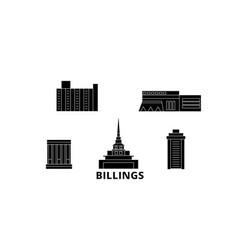 United states billings flat travel skyline set vector