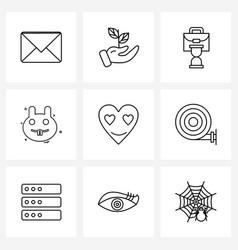 Universal symbols 9 modern line icons love vector