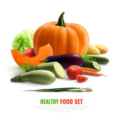 vegetables realistic composition vector image