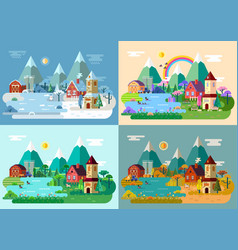 Village at summer winter autumn springpanorama vector