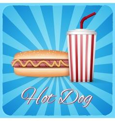 Vintage hotdog poster design vector image