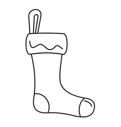 winter sock icon outline style vector image