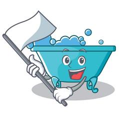 With flag bathtub character cartoon style vector