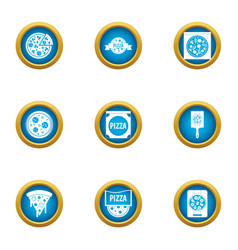 world pizza icons set flat style vector image