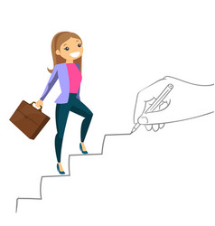 Young business woman climbing the career ladder vector