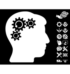 Mind Gear Rotation Icon with Tools Bonus vector image