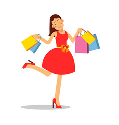 young happy smiling woman in red dress standing vector image vector image