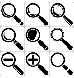 Magnifier Glass Search Find Lupe Zoom Icons vector image