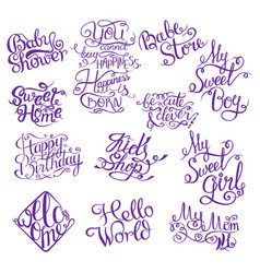 set for baby shower hand drawn phrases for design vector image