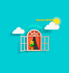 the window with the clouds vector image vector image
