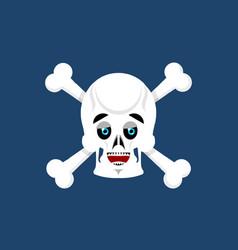Skull and crossbones happy emoji skeleton head vector