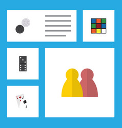 Flat icon entertainment set of chequer cube vector