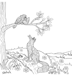 Fox and crow fairy tale coloring book vector image