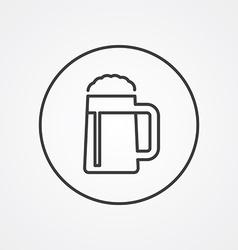 glass of beer outline symbol dark on white vector image vector image
