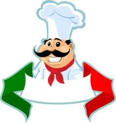 Italian chef label vector image vector image