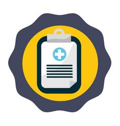 Sticker hospital prescription pad icon vector
