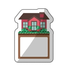 sticker of small house design with label vector image vector image