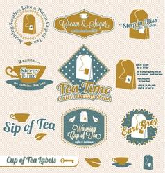 Vintage Tea Time Labels vector image vector image