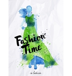 Watercolor poster lettering fashion time vector image