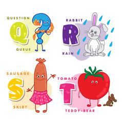 Alphabet children colored letter q r s t vector