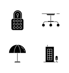 Apartment black glyph icons set on white space vector