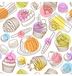 Assorted outlined colorful desserts Seamless vector