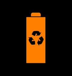 battery recycle sign orange icon on vector image