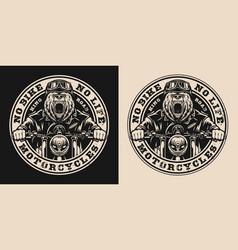 bear biker vintage round badge vector image