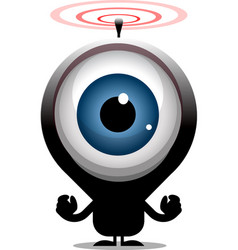 Big eye cartoon character transmitting radio waves vector