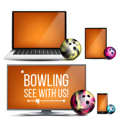 Bowling application bowling ball online vector