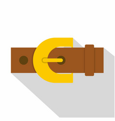 Brown elegant leather trousers belt icon vector