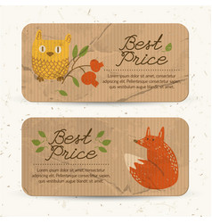 brown paper autumn sale horizontal banners vector image