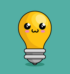 bulb light character kawaii vector image