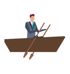 Business man paddling work manager growth vector