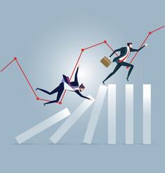 Businessman running on top of domino effect vector