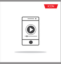Button play video on smartphone icon isolated on vector