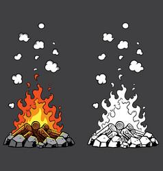 campfire cartoon set vector image