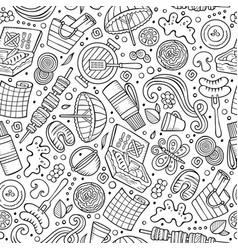 cartoon cute hand drawn picnic seamless pattern vector image